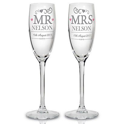 Personalise these Mr & Mrs champagne flutes and view the full range online at Bride & Groom Direct.