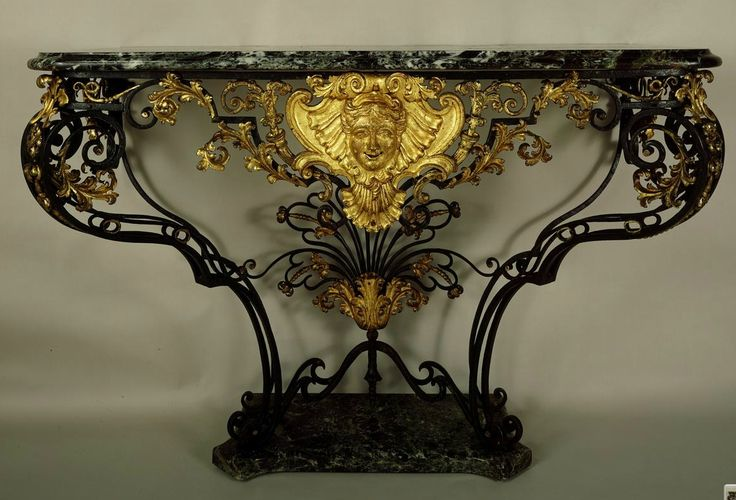 Anonymous, 18th century (French), Console Table of Forged Iron. Frame of forged iron, varnished black; mounts of gilt repoussé iron; top and plinth of dark and light green marble flecked with red, c. 1730-1735. The Frick Collection.: Console Table, Repoussé Irons, Consoles Tables, Marbles Fleck, Green Marbles, Century French, Varnish Black, Forge Irons, Lights Green