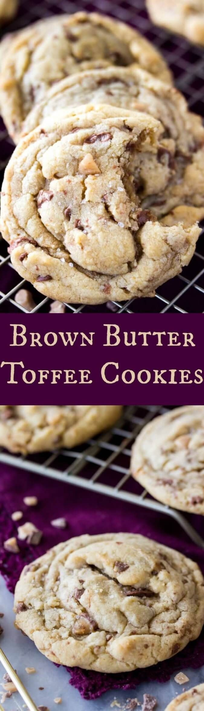 Brown Butter Toffee Cookies - Sugar Spun Run