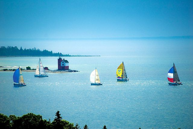 Sailboats over The Straits by @Grand Hotel #puremichigan.  One place I have only visited, but never stayed.  On my bucke list for sure!