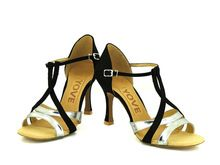 """YOVE Personnalisable Chaussures De Danse En Satin Latine/Salsa Danse Chaussures Femmes Couleur de Contraste À Bout Ouvert Cru 3.5 """"Flare talon w137-1A"""