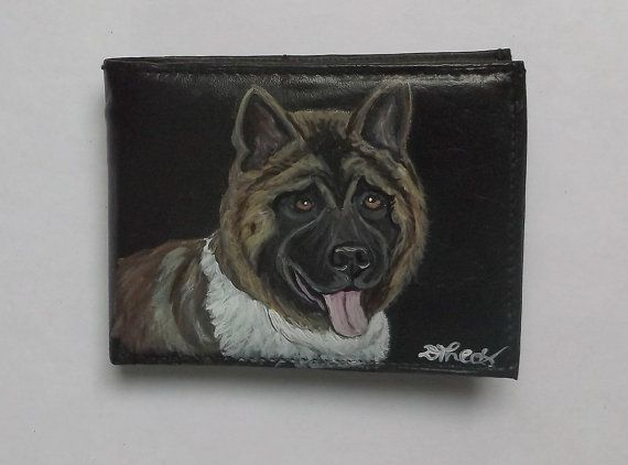 American Akita Dog Custom Painted Leather by daniellesoriginals, $32.95