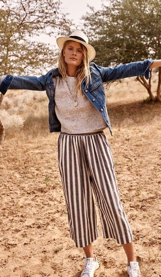 Summer lookbook | Stripe pants + denim jacket + basic top
