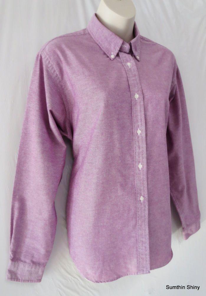 LL Bean Womens Purple Button Front Long Sleeve Oxford Shirt Blouse Size 14