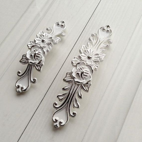 Shabby Chic Dresser Drawer Pulls Handles Off White Silver / French Country Kitchen Cabinet Handle Pull Antique Furniture Hardware