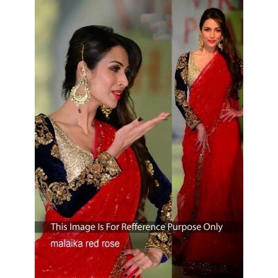 this Red coloured saree, which will make you look striking and even more beautiful. Made of Net, this saree is quite comfortable to wear and easy to drape as well. This saree measures 5.5 m and it comes with a 0.80 m blouse piece.