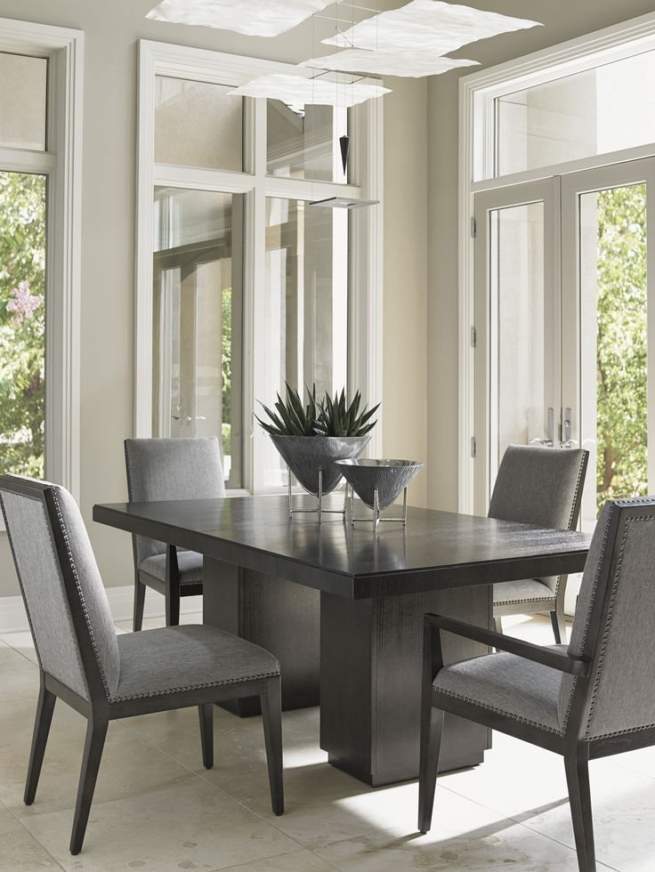Lexington Furniture Carrera Modena Double Pedestal Dining Table In Carbon  Gray By Dining Rooms Outlet