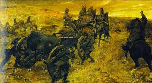 İbrahim Çallı: Topçular. 180×270cm. Istanbul resim ve heykel muzesi
