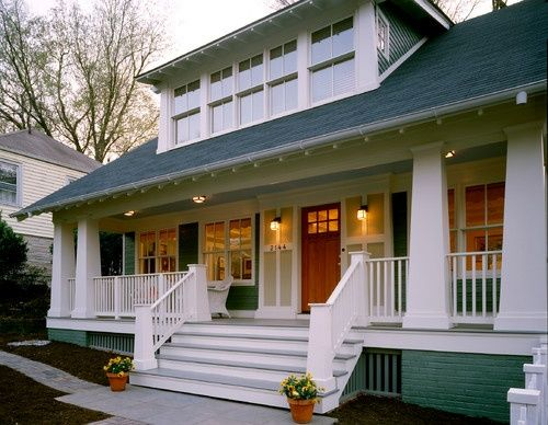 Bungalow with shed roof, battered columns. Battered Column-A column that is larger at the base and slopes inward toward the top of the column. Used extensively on Craftsman-style homes, especially for lighter columns supported by heavy masonry piers.