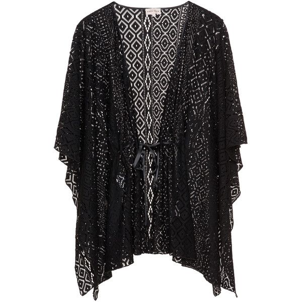 Caya Coco Black Plus Size Open lace kimono jacket ($115) ❤ liked on Polyvore featuring outerwear, jackets, black, plus size, lace kimono, transparent jacket, plus size kimono, drape jacket and boho jacket
