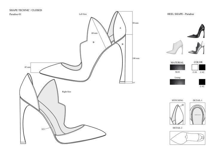 TECHNISCHE ZEICHNUNG SCHUHE   – Technical Sketches – #Schuhe #sketches #Technica…