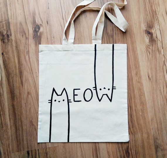 MEOW   hand painted  TOTE BAG shopping bag grocery by miskabags