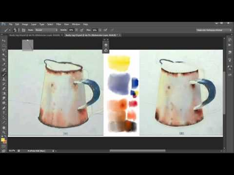 7. Watercolor Painting In Photoshop (including all tools, brushes, papers etc). Video 7
