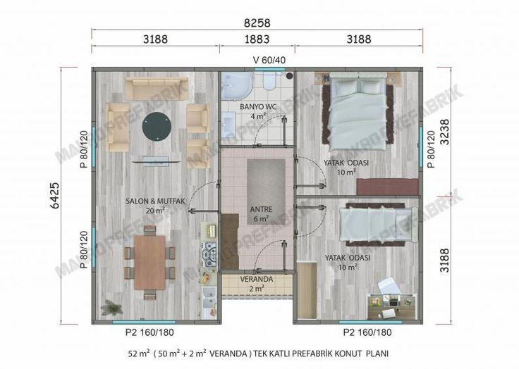 52 M² Tek Katlı Evler | Makro Prefabrik