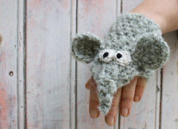 Слон перчатки без пальцев - крючком серое животное грелки для взрослых и детей, короткие перчатки, наручные грелки, грелки