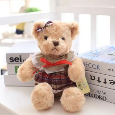 30cm Teddy Wearing A Lattice Korean Version Of The Couple Teddy Bear Stuffed Plush Animals Doll Toy Gift Wholesale Toy For Girls