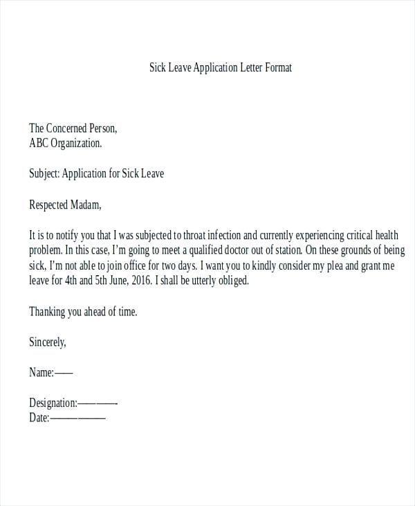 Application Letter For Medical Leave Application Letter For