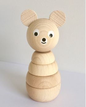 Wooden Stacking Bear #woodentoys #woodendecor #woodenstacking #woodenbuildups #woodenbear #kidsroom #nursery