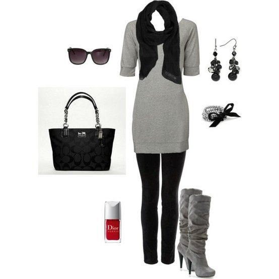 Simple yet chic.....black leggings under this dress and you are good to go!: Casual Outfit, Fashion, Style, Dream Closet, Grey, Fall Outfit, Fall Winter, Black