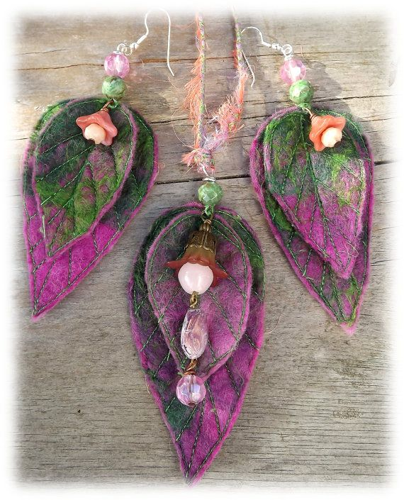 40% OFF jewellery SALE -Fairy leaf necklace  - woodland necklace-  - Elven jewellery - pink earrings- jewellery set