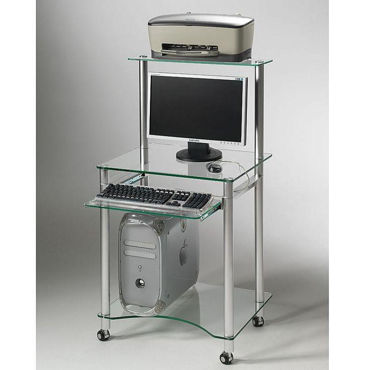 Porta PC con ripiano per stampante struttura e ripiani in vetro temperato da 10 mm