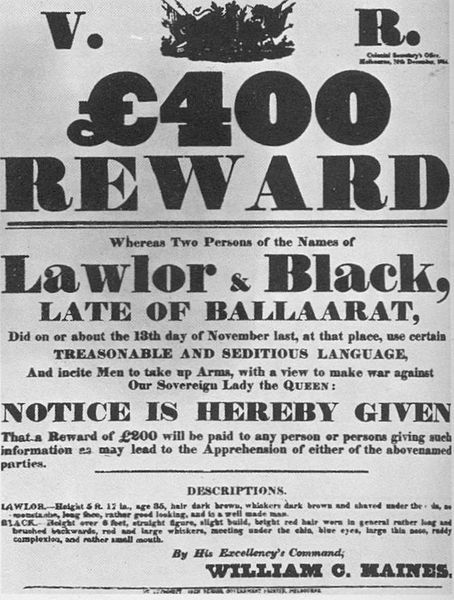 Reward poster for the apprehension of Peter Lalor and George Black