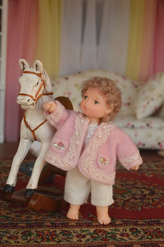 Miniature Doll Polymer  Dollhouse in 1:12 Baby girl