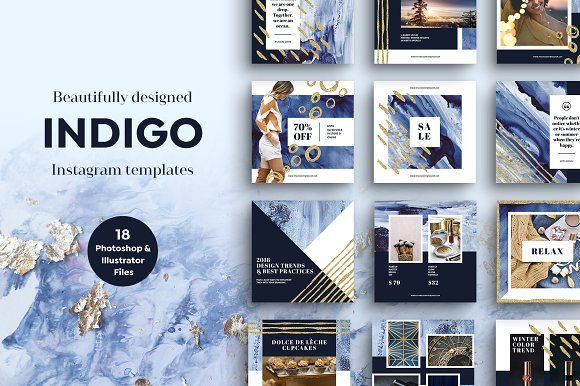 INDIGO Instagram Template Pack by Vintage To Vectors on @creativemarket