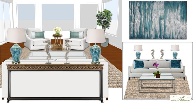 A sophisticated coastal modern living room for a virtual design client. Design and rendering by Linda Merrill. #virtual #design #edecor #edesign #modern #coastal #waterview #ocean #white #teal #wood #rough #luxe