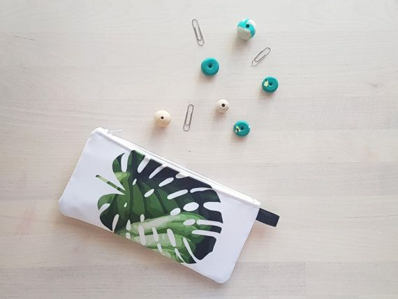 Tropical Monstera Leaf Pencil Case / Makeup Case in Green