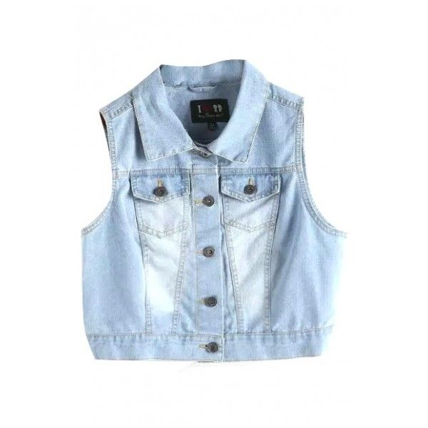 Lapel Single-Breasted Sleeveless Crop Denim Jacket ($25) ❤ liked on Polyvore featuring outerwear, jackets, no sleeve jean jacket, blue jackets, sleeveless jacket, sleeveless denim jacket and cropped jacket