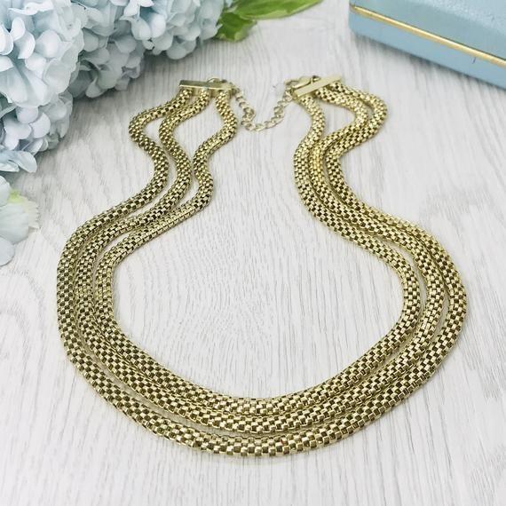 19 Vintage Gold Tone Chain Minimalist Necklace Light Blue Rhinestone