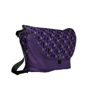 Romantic Love Purple Glitter Roses Messenger Bag