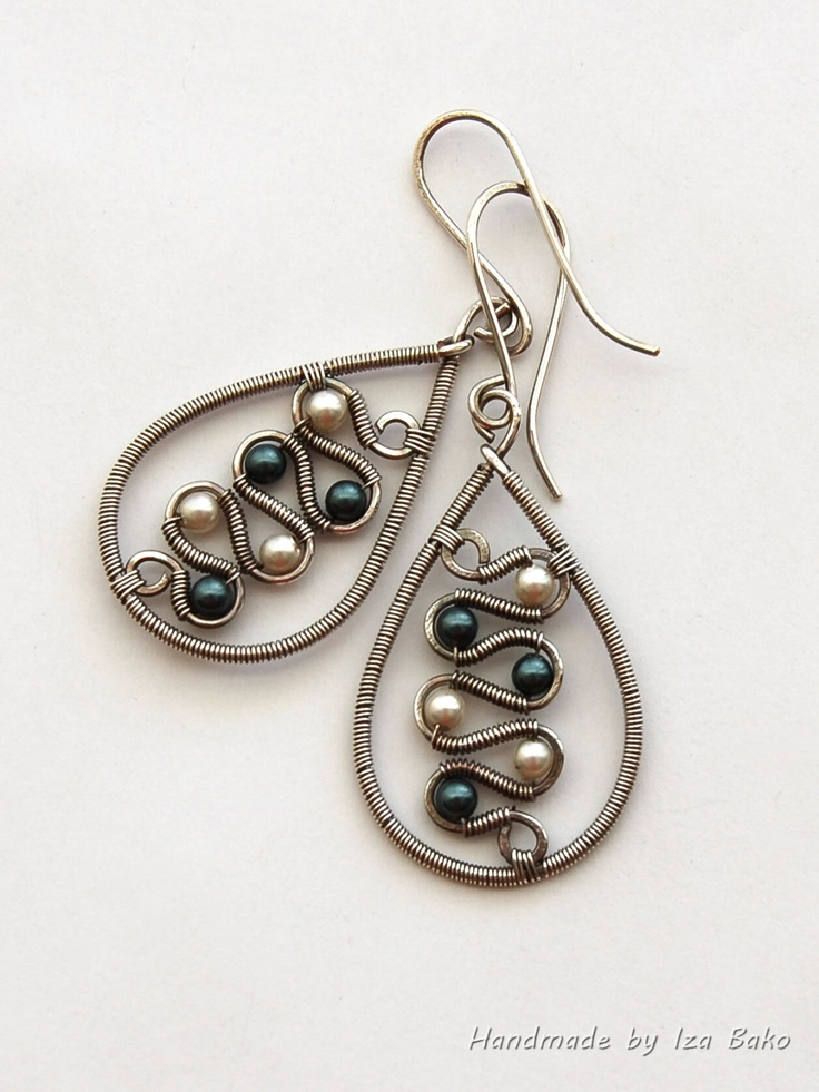 Black and White - Handmade Wire Wrapped Silver Filled Earrings with Swarovski Pearls by WireFantasies