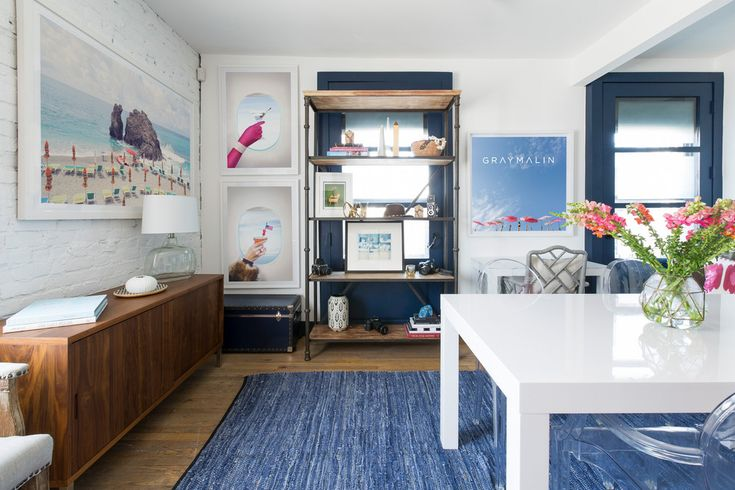 blue and white office decor