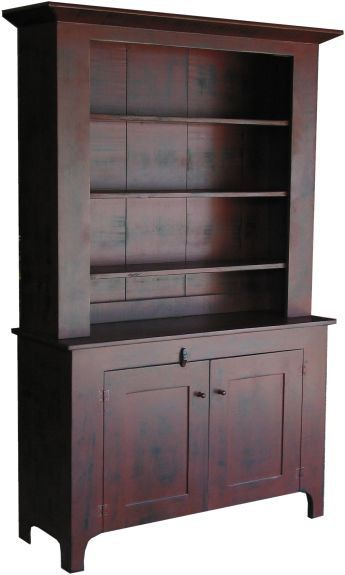 HOME DECOR – FURNITURE – HUTCH – Early American Colonial Primitive Step Back Hutch