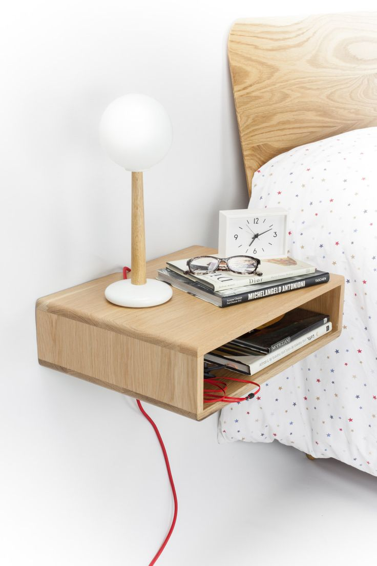 Floating wood nightstand / Bedside Table / Drawer by Habitables