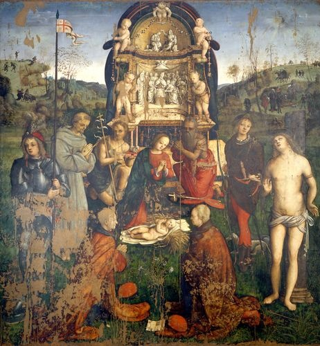 Amico Aspertini (1474/5-1552), Madonna and Child Enthroned with Saints and Two Donors (Pala del tirocinio) (1503-1504), Pinacoteca Nazionale, Bologna.