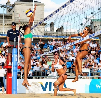 Great Britain's Zara Dampney, right, and Shauna Mullin were caught mid-play during the VISA FIVB Beach Volleyball International. The pair will compete in the London 2012 Olympic Games.