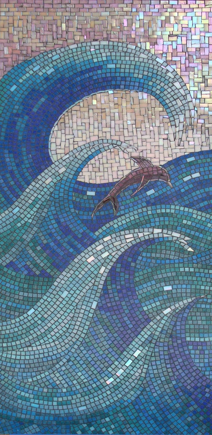 Dolphin in the waves..beautiful beachy glass tile moasic