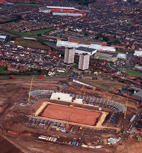 Stadium Of Light Being Built With Roker Park In Background