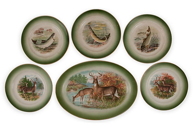 Buffalo Pottery Game Plate Set, 6 Pcs on OneKingsLane.com