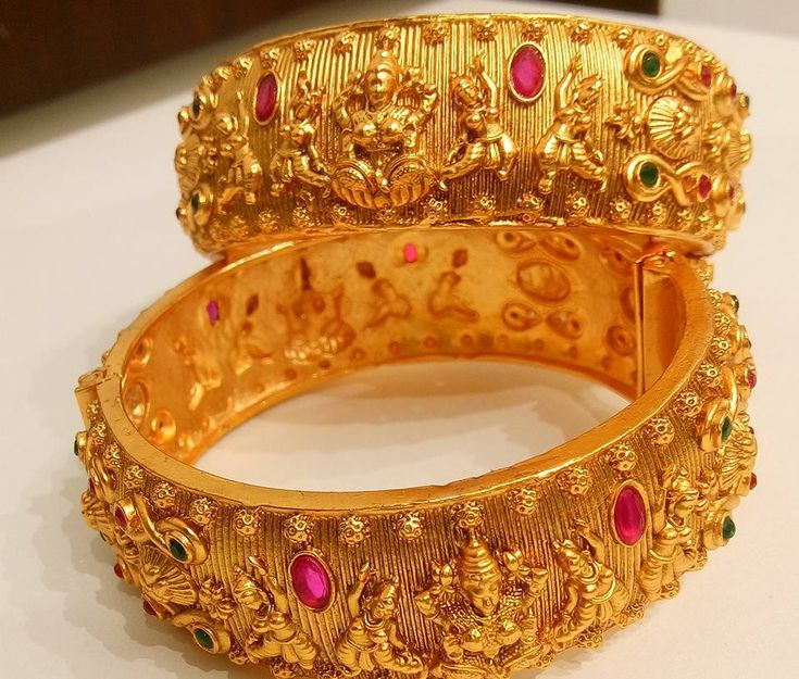 Beautiful one gram gold bangle with lakshmi devi desin.Price:2200 pairFor order processing what s app on 9618284188  13 October 2017.