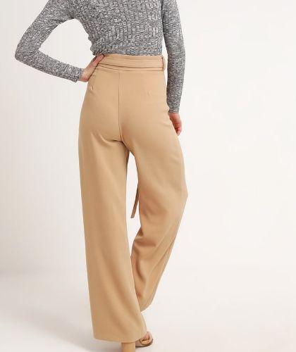 Missguided Petite Spodnie materiałowe z wysokim stanem bezowe camel