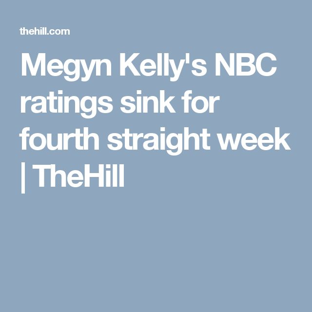 Megyn Kelly's NBC ratings sink for fourth straight week | TheHill