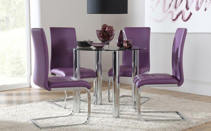 Attractive Solar U0026 Perth Round Glass U0026 Chrome Dining Set (Purple)