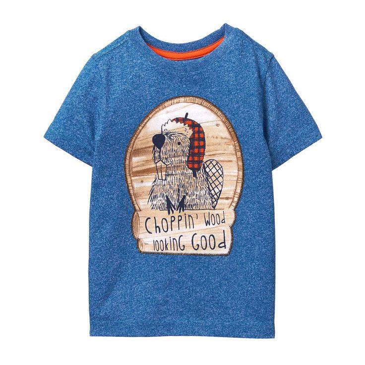 Toddler Boy Foggy Blue Beaver Tee by Gymboree