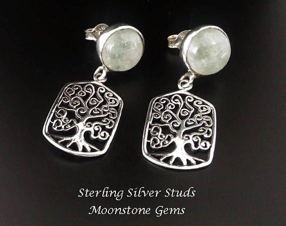 Moonstone Stud Earrings: Celtic Tree of Life below Large Moonstone Gemstones on Sterling Silver Stud Earrings- *Shop Now* at https://www.etsy.com/shop/EarringsArtisan #SilverEarrings #DangleEarrings #womensfashion #studearrings #moonstone #treeoflife