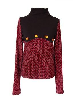 Red & Black Stoned Polo Neck from designer : www.violin.fashion / Limited edition