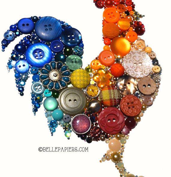 Button Art Rooster Kitchen Art Button Art Unique by BellePapiers